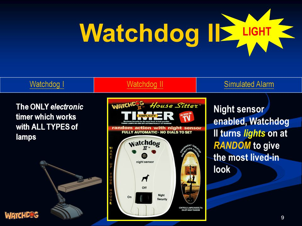 30 TM SIMPLEST HOME SECURITY PRODUCTS TO PROTECT YOUR HOME, CAR & OFFICE Watchdog I Watchdog II Simulated Alarm Hunterco China USA Corp US: leev@cyberwire.netleev@cyberwire.net Taiwan: ycyiu@gsigsb.comycyiu@gsigsb.com China: marketing@gsigsb.commarketing@gsigsb.com Hong Kong: lawaid@netvigator.comlawaid@netvigator.com