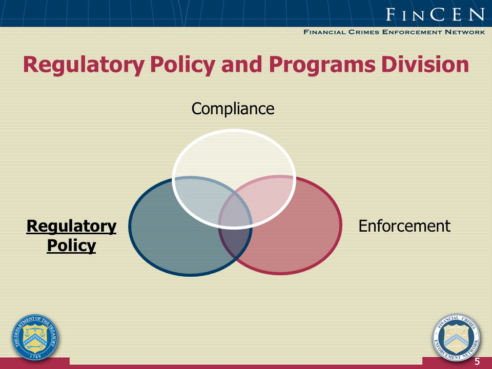 5 Regulatory Policy and Programs Division Compliance Regulatory Policy Enforcement