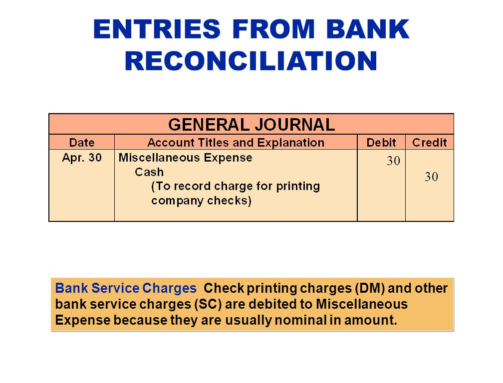 ENTRIES FROM BANK RECONCILIATION Bank Service Charges Check printing charges (DM) and other bank service charges (SC) are debited to Miscellaneous Exp