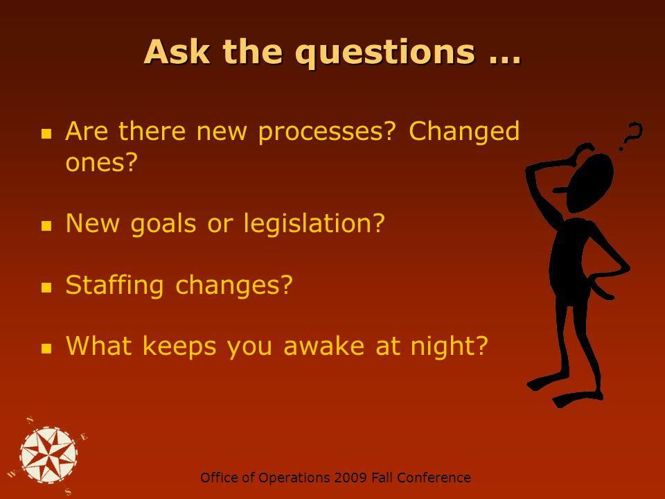 Office of Operations 2009 Fall Conference Ask the questions … Are there new processes.