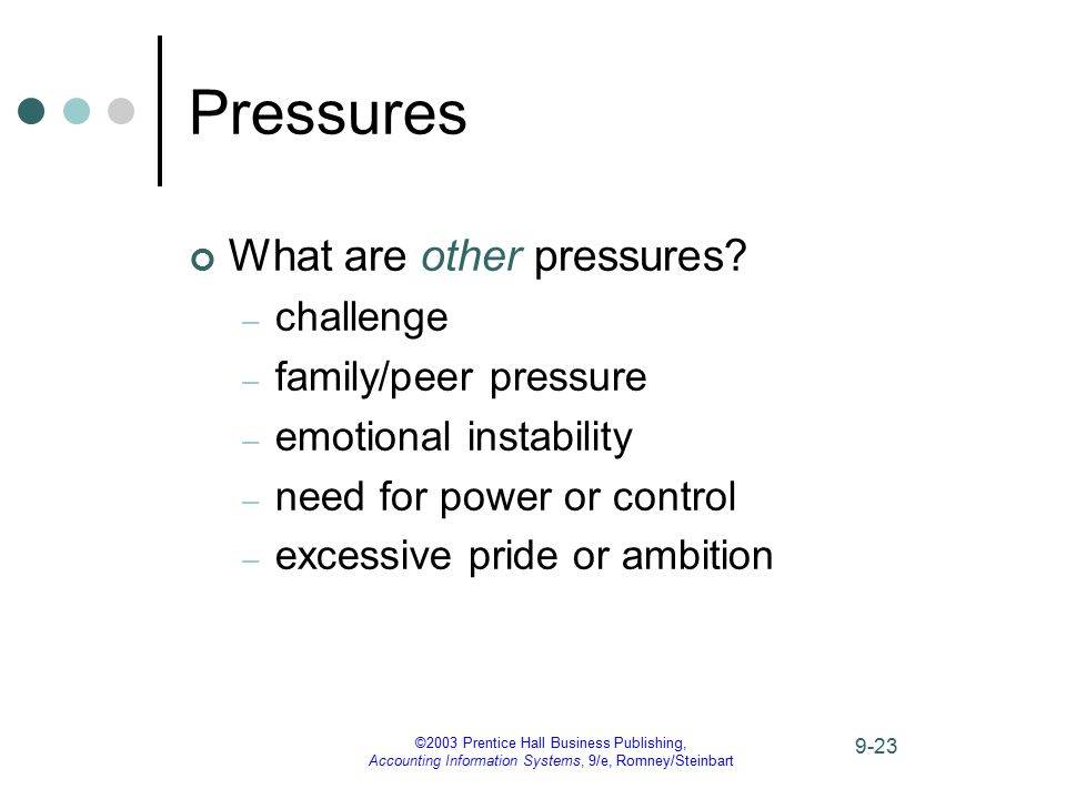 ©2003 Prentice Hall Business Publishing, Accounting Information Systems, 9/e, Romney/Steinbart 9-23 Pressures What are other pressures? – challenge –