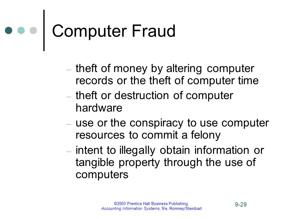 ©2003 Prentice Hall Business Publishing, Accounting Information Systems, 9/e, Romney/Steinbart 9-29 Computer Fraud – theft of money by altering comput