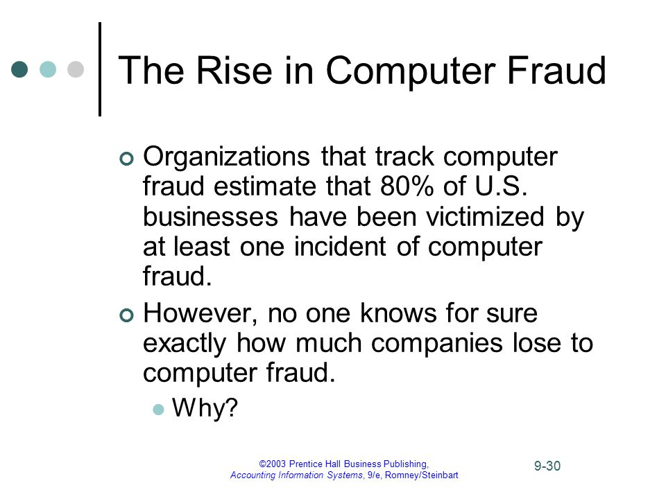 ©2003 Prentice Hall Business Publishing, Accounting Information Systems, 9/e, Romney/Steinbart 9-30 The Rise in Computer Fraud Organizations that trac
