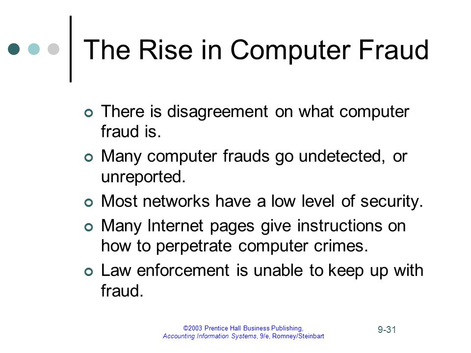 ©2003 Prentice Hall Business Publishing, Accounting Information Systems, 9/e, Romney/Steinbart 9-31 The Rise in Computer Fraud There is disagreement o