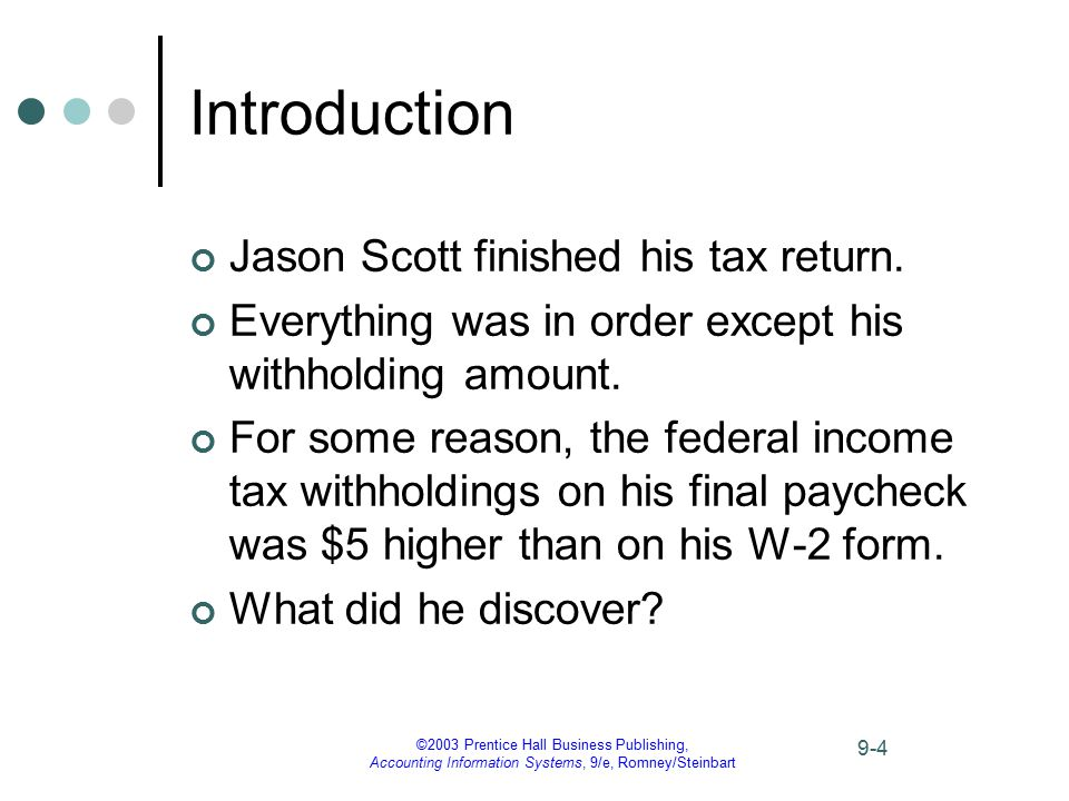 ©2003 Prentice Hall Business Publishing, Accounting Information Systems, 9/e, Romney/Steinbart 9-45 Case Conclusion The payroll project had been completed without the usual review by other systems personnel.