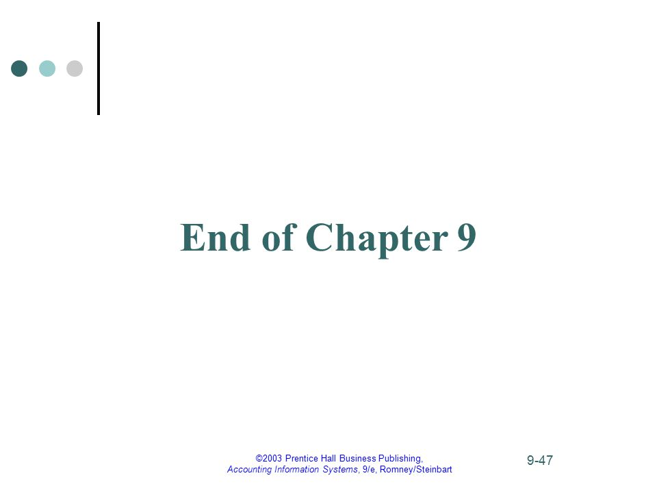 ©2003 Prentice Hall Business Publishing, Accounting Information Systems, 9/e, Romney/Steinbart 9-47 End of Chapter 9