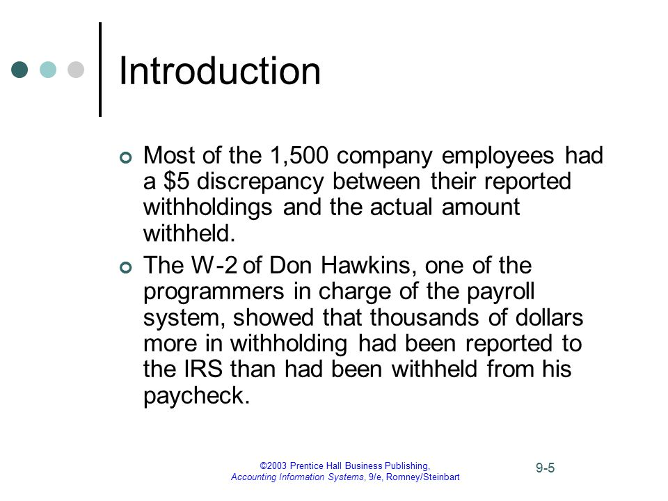 ©2003 Prentice Hall Business Publishing, Accounting Information Systems, 9/e, Romney/Steinbart 9-5 Introduction Most of the 1,500 company employees ha