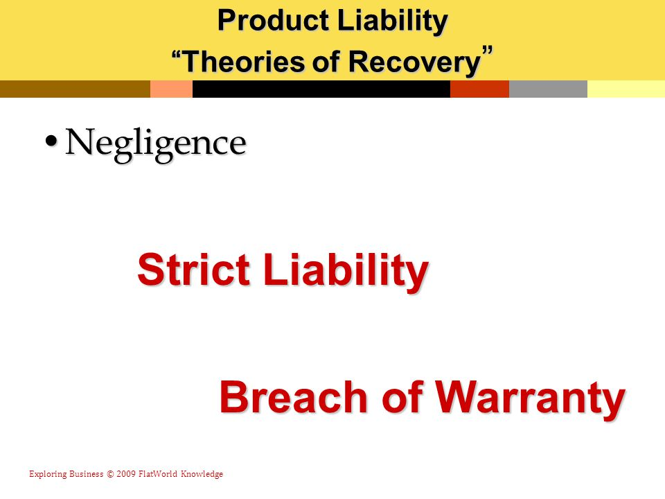 """Product Liability """"Theories of Recovery """" NegligenceNegligence Exploring Business © 2009 FlatWorld Knowledge Strict Liability Breach of Warranty"""