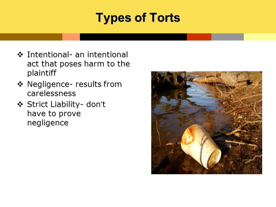 Types of Torts  Intentional- an intentional act that poses harm to the plaintiff  Negligence- results from carelessness  Strict Liability- don't ha