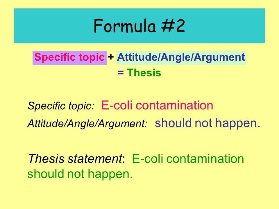 Formula #2 Specific topic + Attitude/Angle/Argument = Thesis Specific topic: E-coli contamination Attitude/Angle/Argument: should not happen.