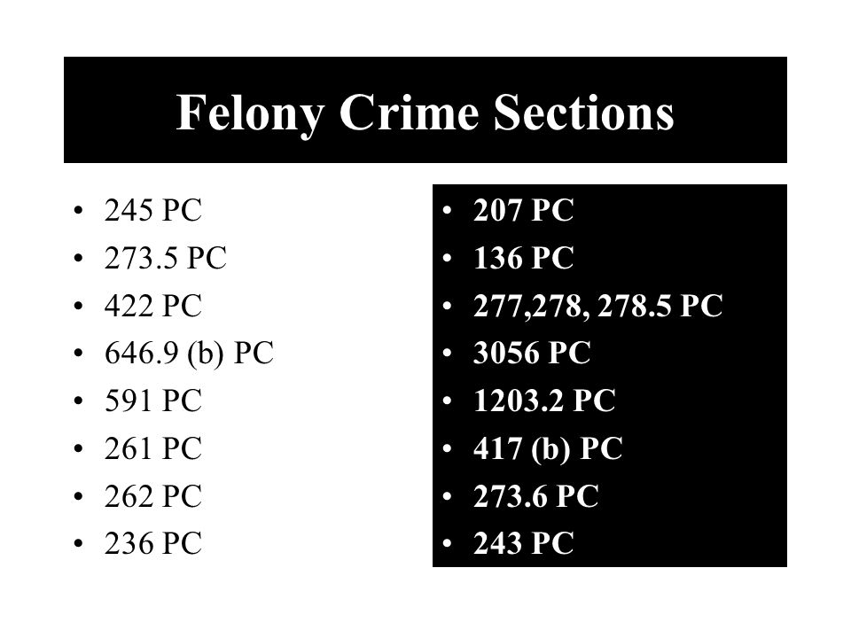 Felony Crime Sections 245 PC 273.5 PC 422 PC 646.9 (b) PC 591 PC 261 PC 262 PC 236 PC 207 PC 136 PC 277,278, 278.5 PC 3056 PC 1203.2 PC 417 (b) PC 273.6 PC 243 PC
