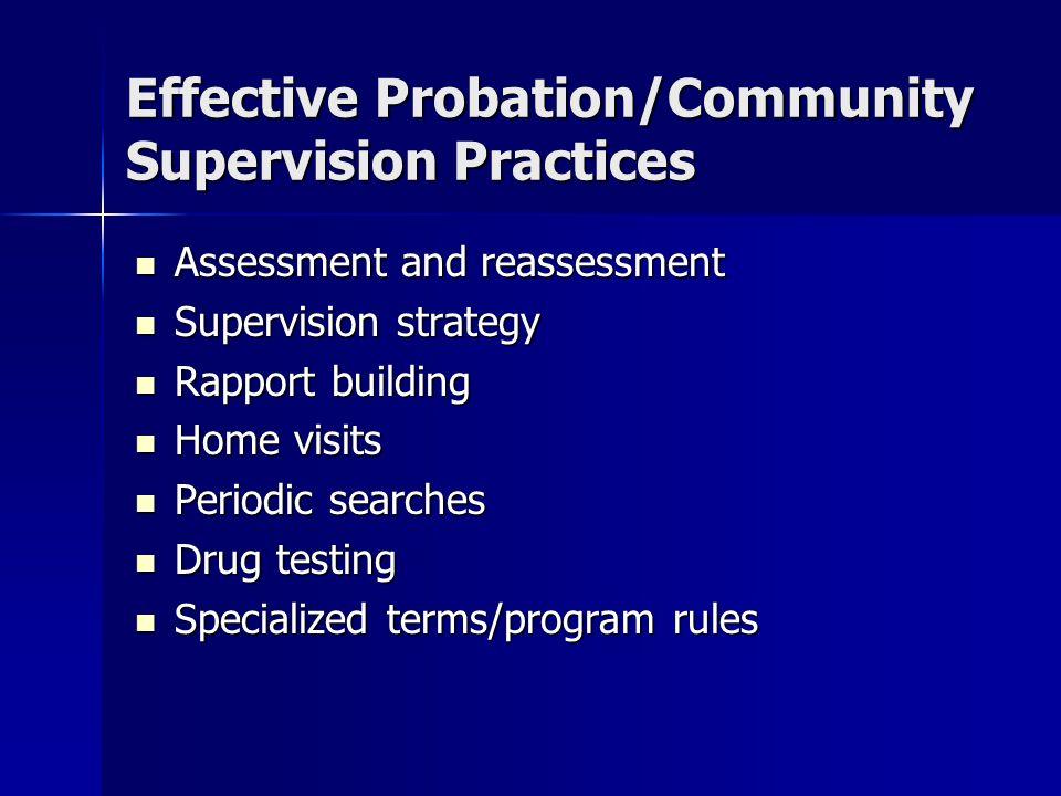 Effective Probation/Community Supervision Practices Assessment and reassessment Assessment and reassessment Supervision strategy Supervision strategy
