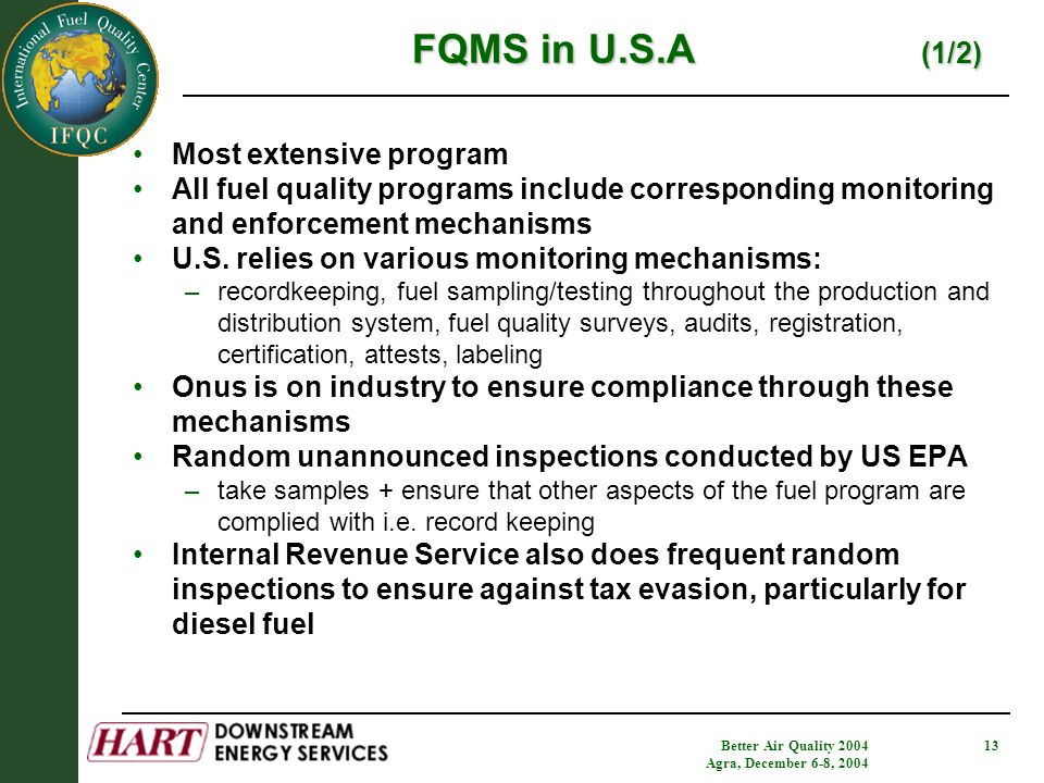 Better Air Quality 2004 Agra, December 6-8, 2004 13 FQMS in U.S.A (1/2) Most extensive program All fuel quality programs include corresponding monitoring and enforcement mechanisms U.S.