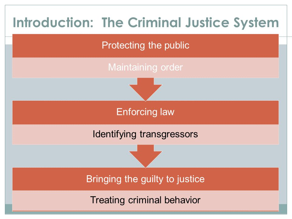 Introduction: The Criminal Justice System Bringing the guilty to justice Treating criminal behavior Enforcing law Identifying transgressors Protecting
