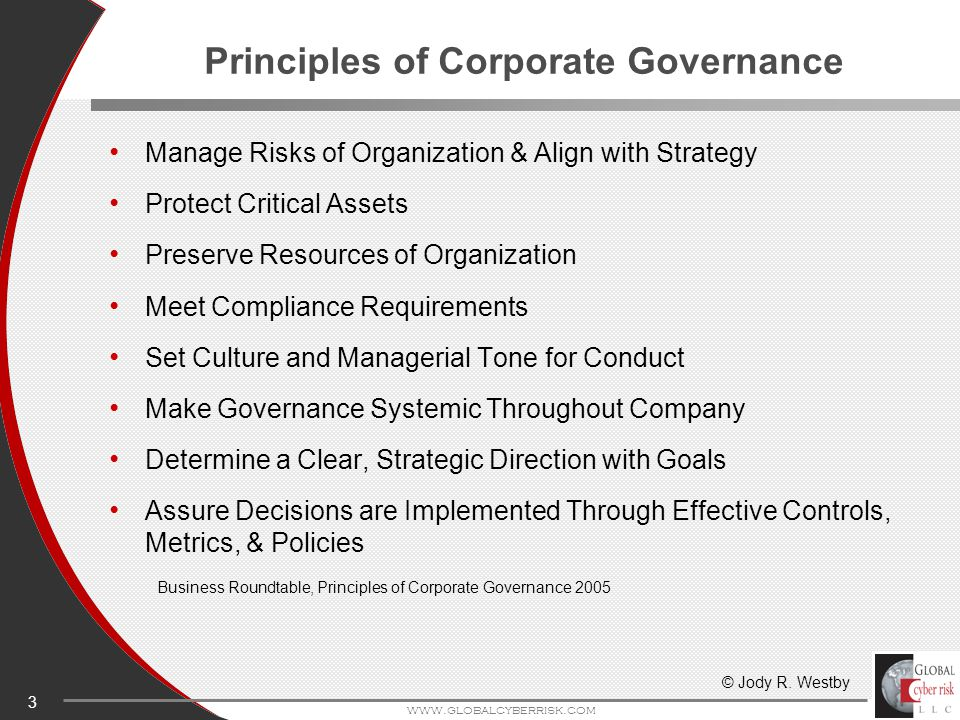3 www.globalcyberrisk.com Principles of Corporate Governance Manage Risks of Organization & Align with Strategy Protect Critical Assets Preserve Resources of Organization Meet Compliance Requirements Set Culture and Managerial Tone for Conduct Make Governance Systemic Throughout Company Determine a Clear, Strategic Direction with Goals Assure Decisions are Implemented Through Effective Controls, Metrics, & Policies Business Roundtable, Principles of Corporate Governance 2005 © Jody R.