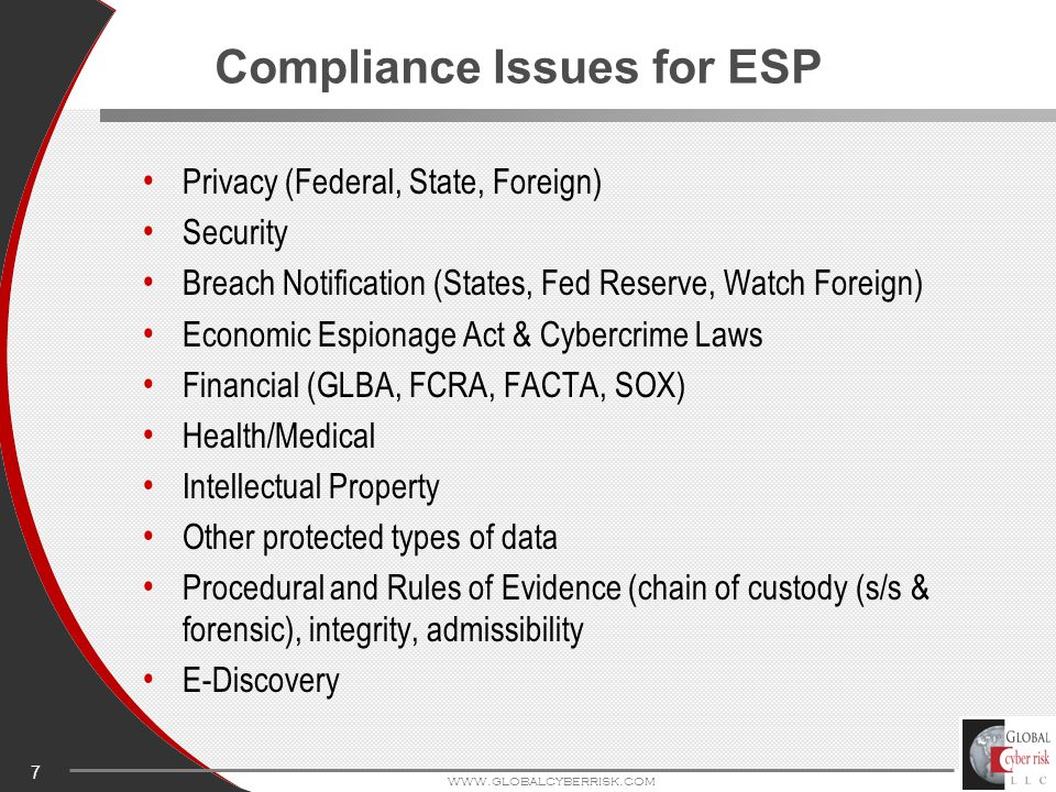 7 www.globalcyberrisk.com Compliance Issues for ESP Privacy (Federal, State, Foreign) Security Breach Notification (States, Fed Reserve, Watch Foreign