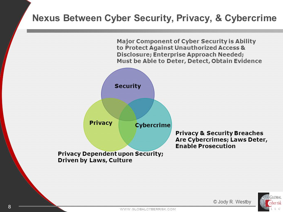 8 www.globalcyberrisk.com Nexus Between Cyber Security, Privacy, & Cybercrime Major Component of Cyber Security is Ability to Protect Against Unauthorized Access & Disclosure; Enterprise Approach Needed; Must be Able to Deter, Detect, Obtain Evidence Privacy & Security Breaches Are Cybercrimes; Laws Deter, Enable Prosecution Privacy Dependent upon Security; Driven by Laws, Culture Cybercrime Privacy Security © Jody R.
