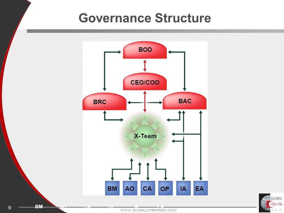 9 www.globalcyberrisk.com Governance Structure AOBMCAOPIAEA BOD CEO/COO BRC BAC X-Team BM AOCA OP IAEA