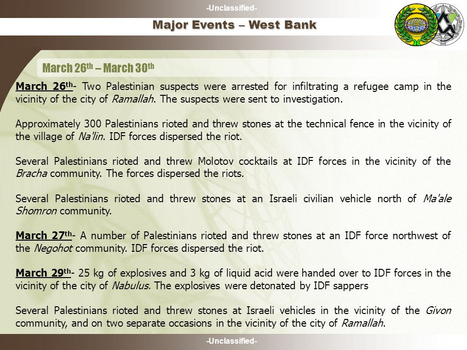 -Unclassified- Major Events – West Bank March 26 th – March 30 th March 26 th - Two Palestinian suspects were arrested for infiltrating a refugee camp in the vicinity of the city of Ramallah.