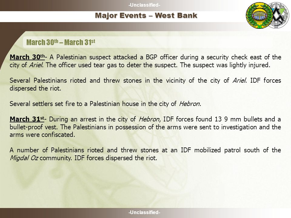 -Unclassified- Major Events – West Bank March 30 th – March 31 st March 30 th - A Palestinian suspect attacked a BGP officer during a security check east of the city of Ariel.
