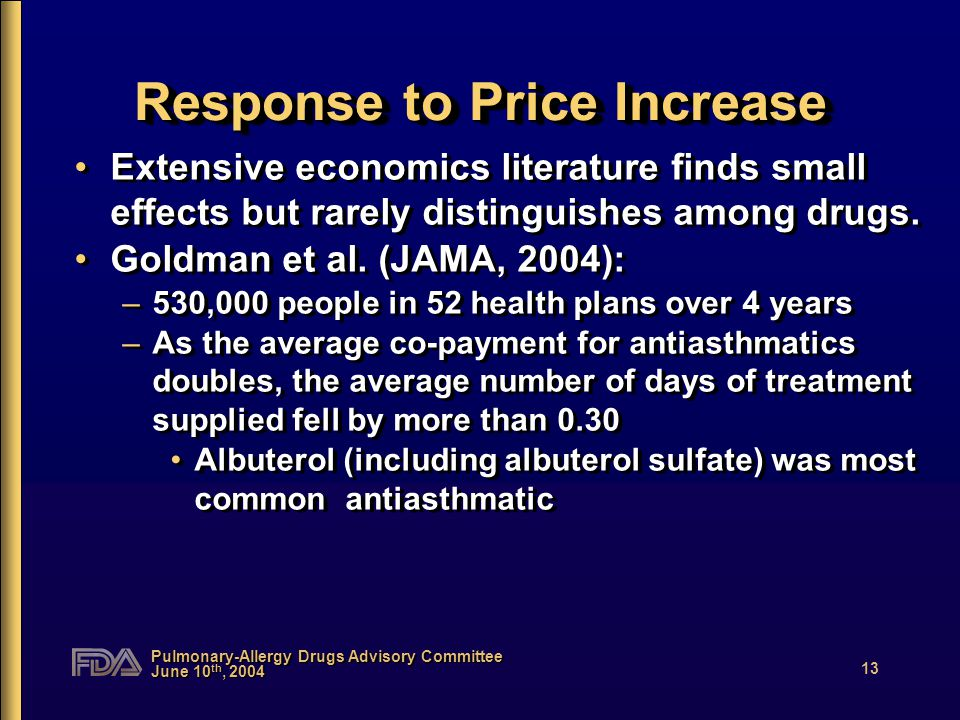 Pulmonary-Allergy Drugs Advisory Committee June 10 th, 2004 13 Response to Price Increase Extensive economics literature finds small effects but rarely distinguishes among drugs.