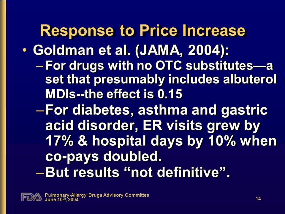 Pulmonary-Allergy Drugs Advisory Committee June 10 th, 2004 14 Response to Price Increase Goldman et al. (JAMA, 2004): –For drugs with no OTC substitu