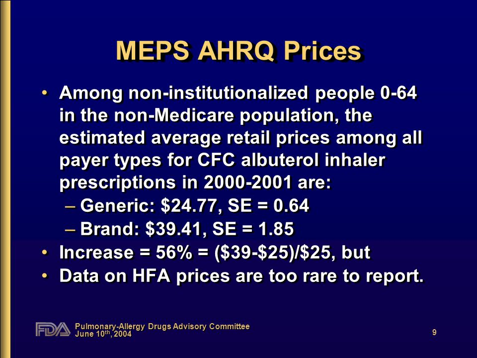 Pulmonary-Allergy Drugs Advisory Committee June 10 th, 2004 9 MEPS AHRQ Prices Among non-institutionalized people 0-64 in the non-Medicare population, the estimated average retail prices among all payer types for CFC albuterol inhaler prescriptions in 2000-2001 are: –Generic: $24.77, SE = 0.64 –Brand: $39.41, SE = 1.85 Increase = 56% = ($39-$25)/$25, but Data on HFA prices are too rare to report.