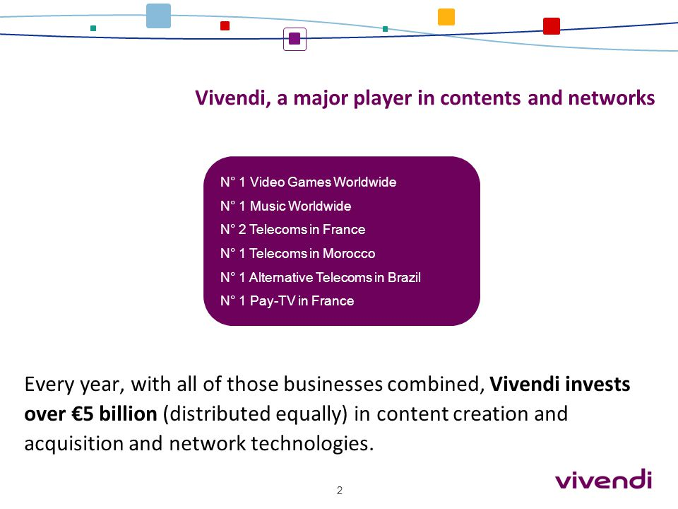 Vivendi, a major player in contents and networks Every year, with all of those businesses combined, Vivendi invests over €5 billion (distributed equal