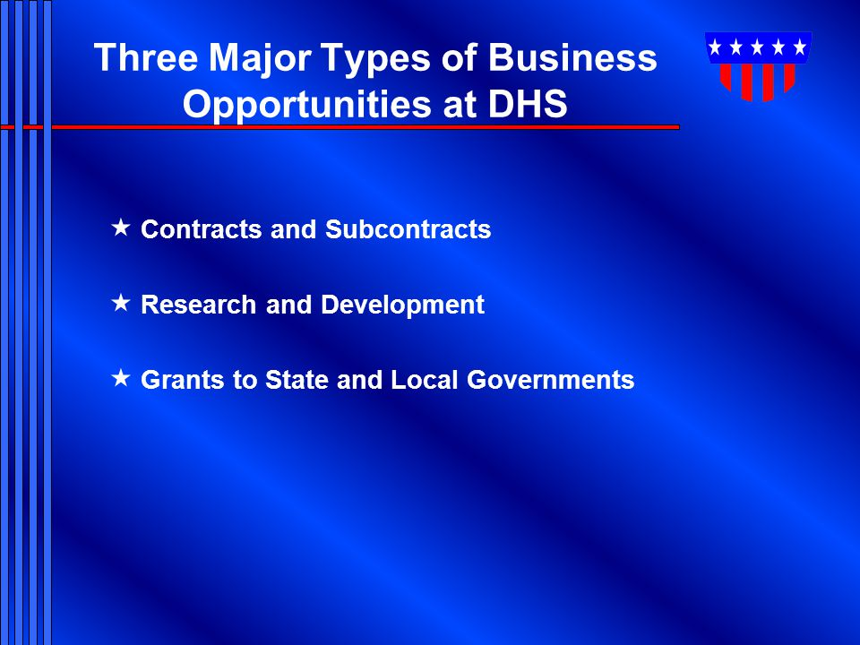 8 Major DHS Buying Activities  Customs & Border Protection  DHS Headquarters Office of Procurement Operations  Federal Emergency Management Agency  Federal Law Enforcement Training Center  Immigration & Customs Enforcement  Transportation Security Administration  U.S Coast Guard  U.S.