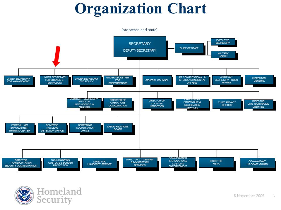 8 November 20053 Department of Homeland Security Organization Chart (proposed end state) SECRETARY DEPUTY SECRETARY DIRECTOR TRANSPORTATION SECURITY A