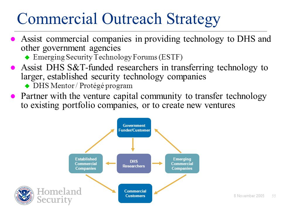 8 November 200555 Assist commercial companies in providing technology to DHS and other government agencies  Emerging Security Technology Forums (ESTF