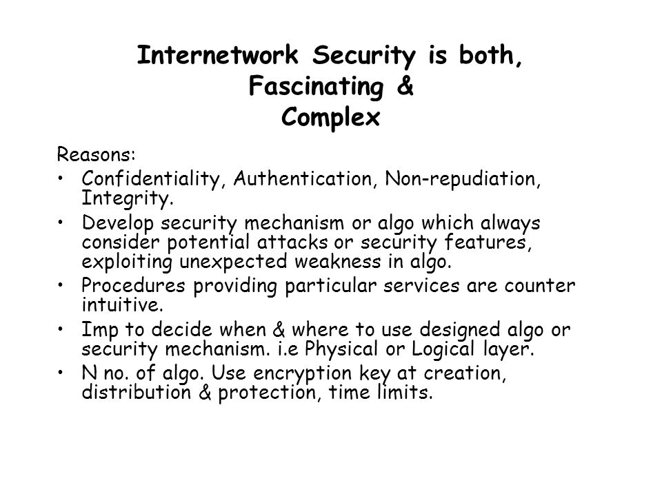 Information Security Requirements –Computer Security (System Security) –Network Security (Internet Security) Security Violations