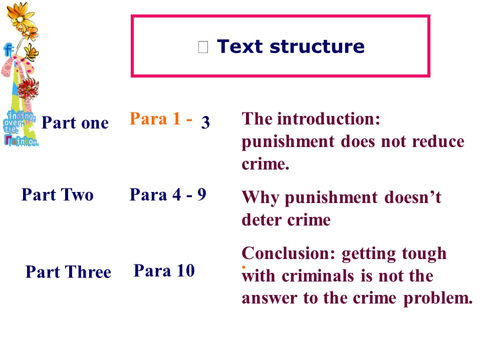 Ⅰ Text structure Part one Part Two Para 1 - 3 Para 4 - 9 The introduction: punishment does not reduce crime.
