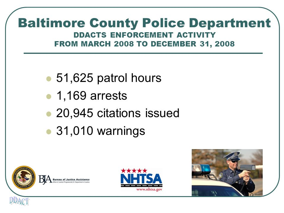 Baltimore County Police Department DDACTS ENFORCEMENT ACTIVITY FROM MARCH 2008 TO DECEMBER 31, 2008 51,625 patrol hours 1,169 arrests 20,945 citations issued 31,010 warnings