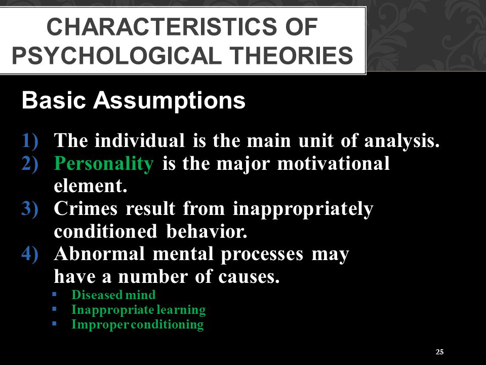 25 Basic Assumptions 1)The individual is the main unit of analysis. 2)Personality is the major motivational element. 3)Crimes result from inappropriat