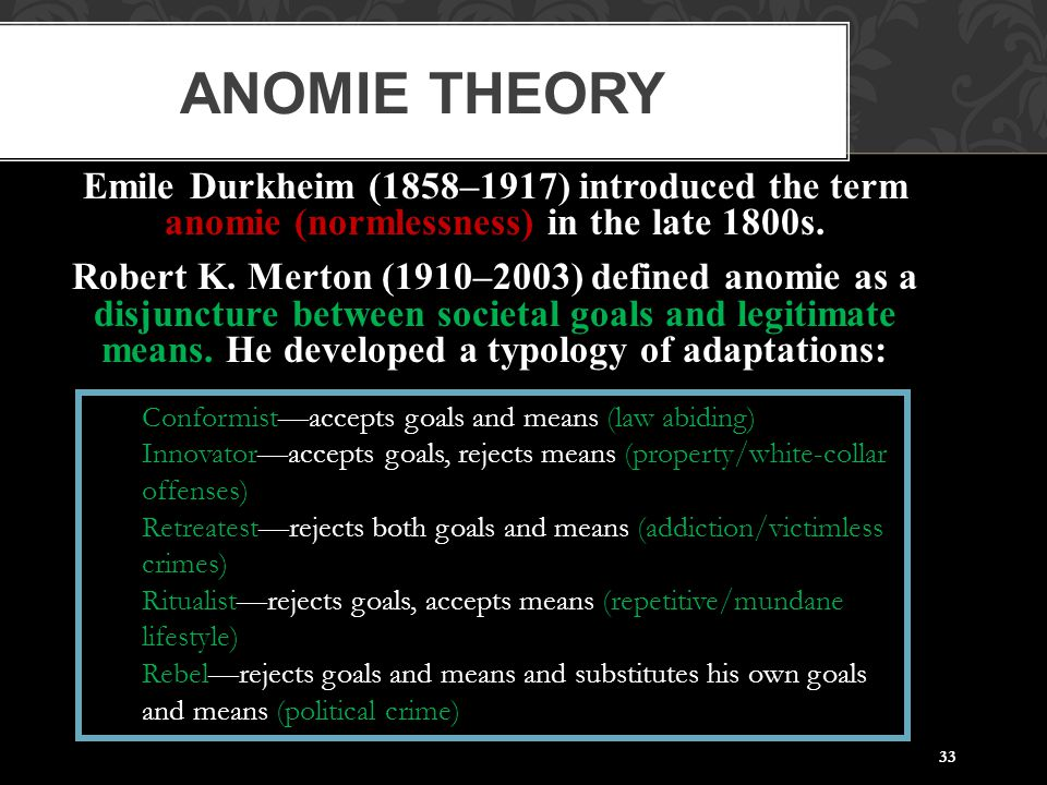 33 ANOMIE THEORY Emile Durkheim (1858–1917) introduced the term anomie (normlessness) in the late 1800s. Robert K. Merton (1910–2003) defined anomie a