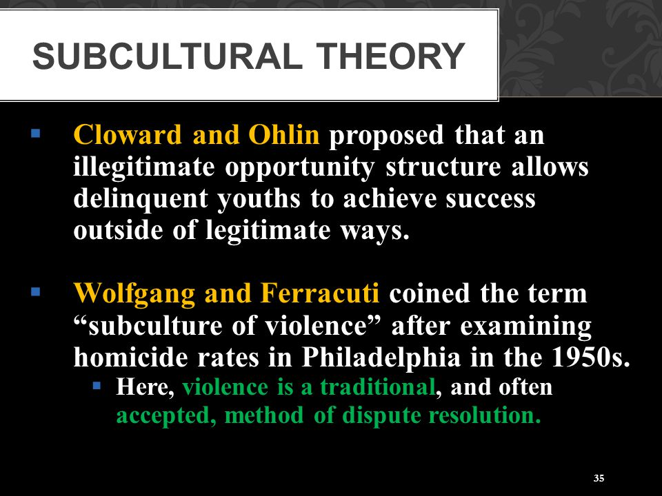 35  Cloward and Ohlin proposed that an illegitimate opportunity structure allows delinquent youths to achieve success outside of legitimate ways.  W