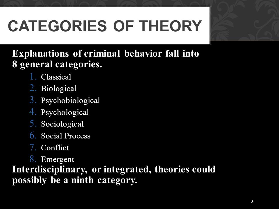 5 Explanations of criminal behavior fall into 8 general categories. 1. Classical 2. Biological 3. Psychobiological 4. Psychological 5. Sociological 6.