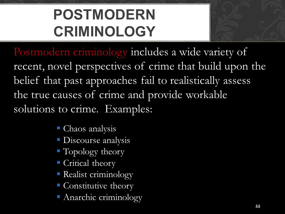 55 POSTMODERN CRIMINOLOGY Postmodern criminology includes a wide variety of recent, novel perspectives of crime that build upon the belief that past a