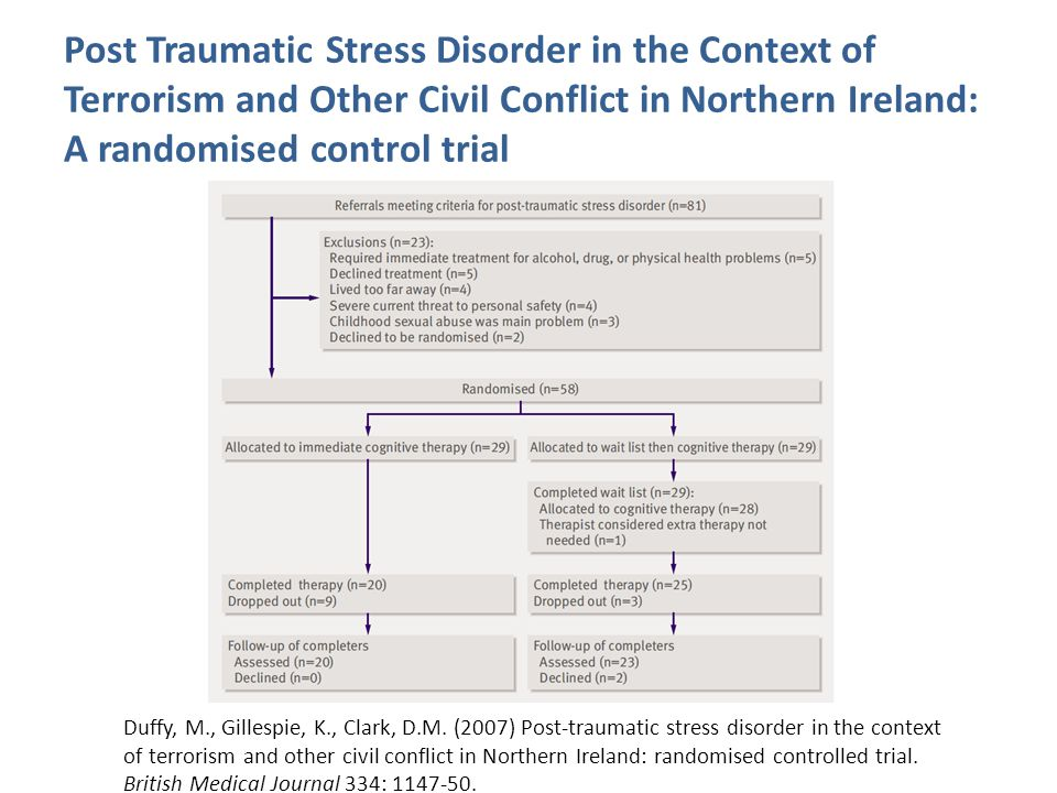 Post Traumatic Stress Disorder in the Context of Terrorism and Other Civil Conflict in Northern Ireland: A randomised control trial Duffy, M., Gillespie, K., Clark, D.M.