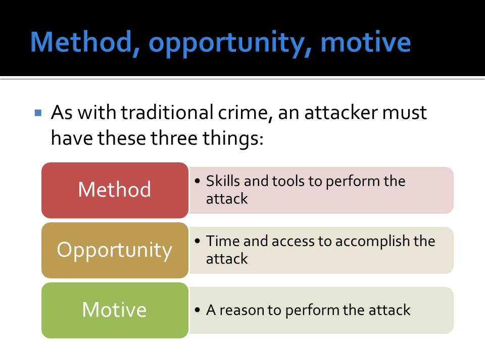  As with traditional crime, an attacker must have these three things: Skills and tools to perform the attack Method Time and access to accomplish the