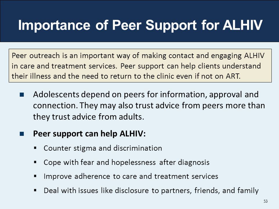 53 Importance of Peer Support for ALHIV Adolescents depend on peers for information, approval and connection.
