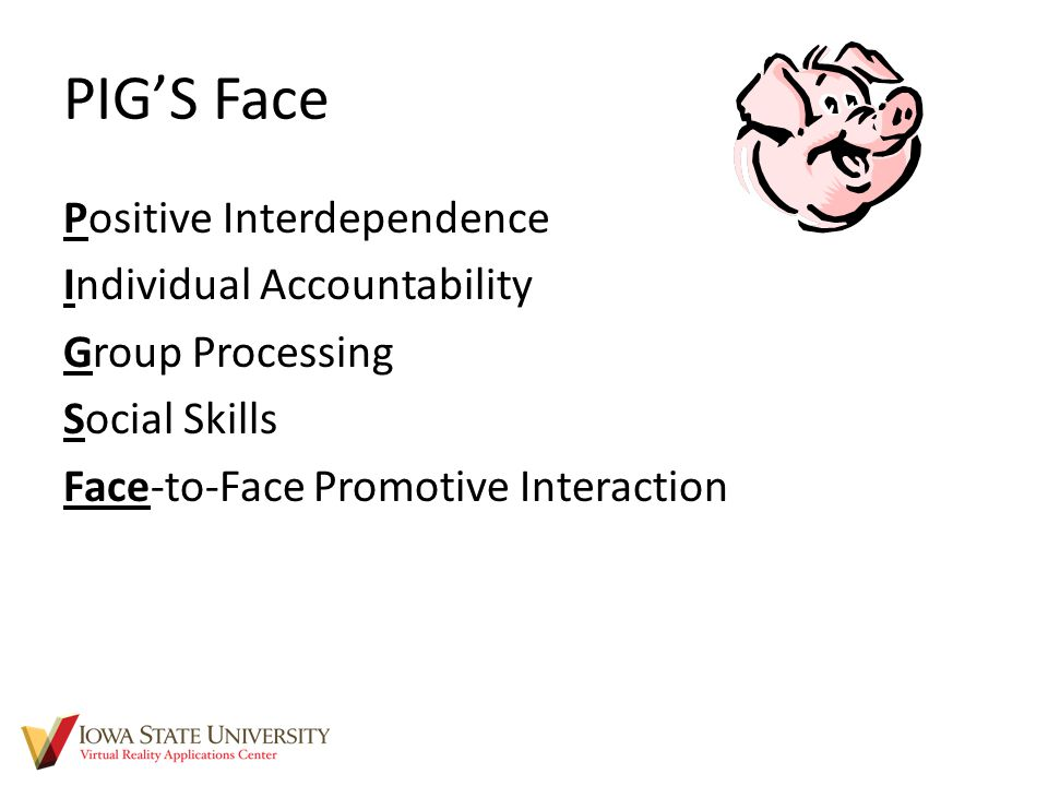 PIG'S Face Positive Interdependence Individual Accountability Group Processing Social Skills Face-to-Face Promotive Interaction
