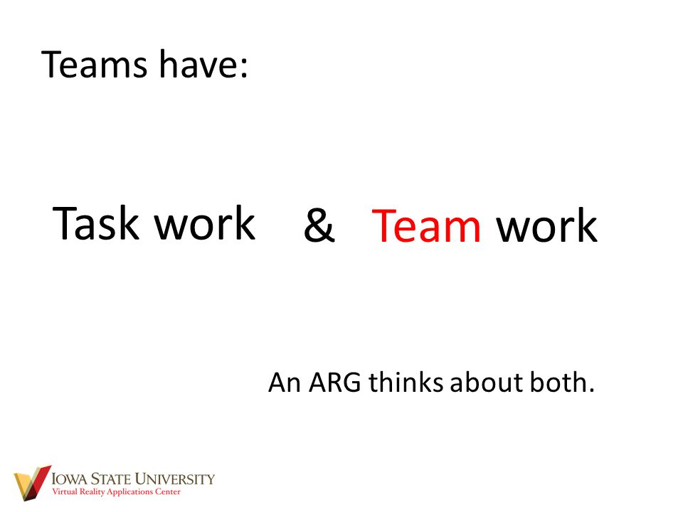 Teams have: & Team work Task work An ARG thinks about both.
