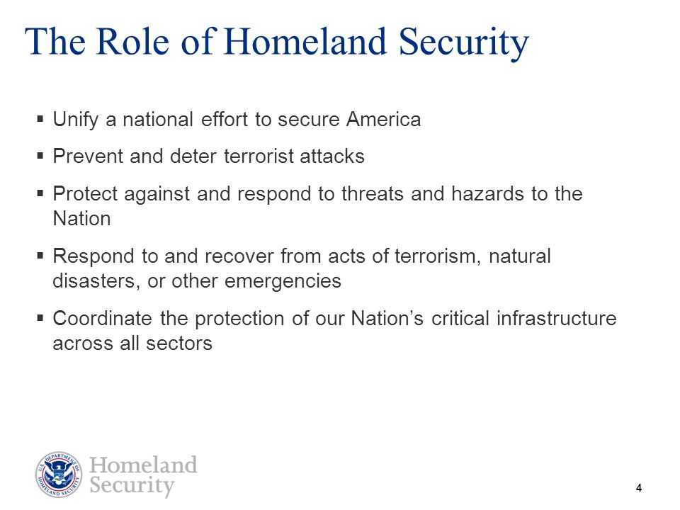 The Role of Homeland Security  Unify a national effort to secure America  Prevent and deter terrorist attacks  Protect against and respond to threa
