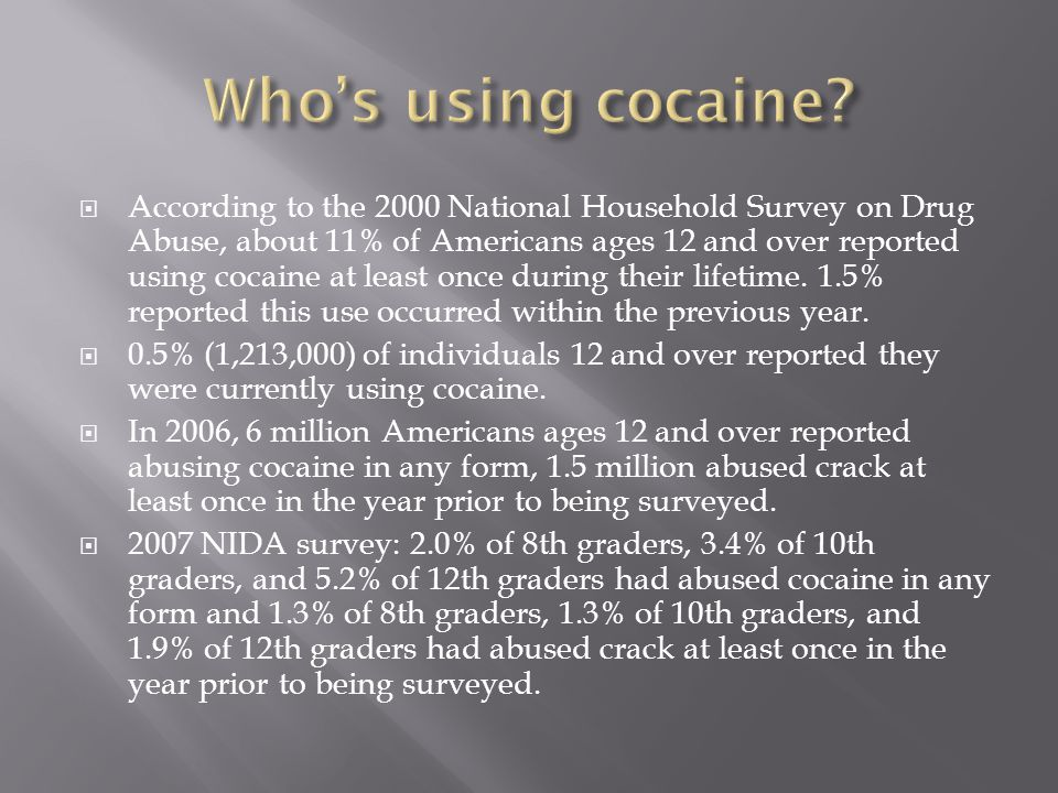  According to the 2000 National Household Survey on Drug Abuse, about 11% of Americans ages 12 and over reported using cocaine at least once during their lifetime.