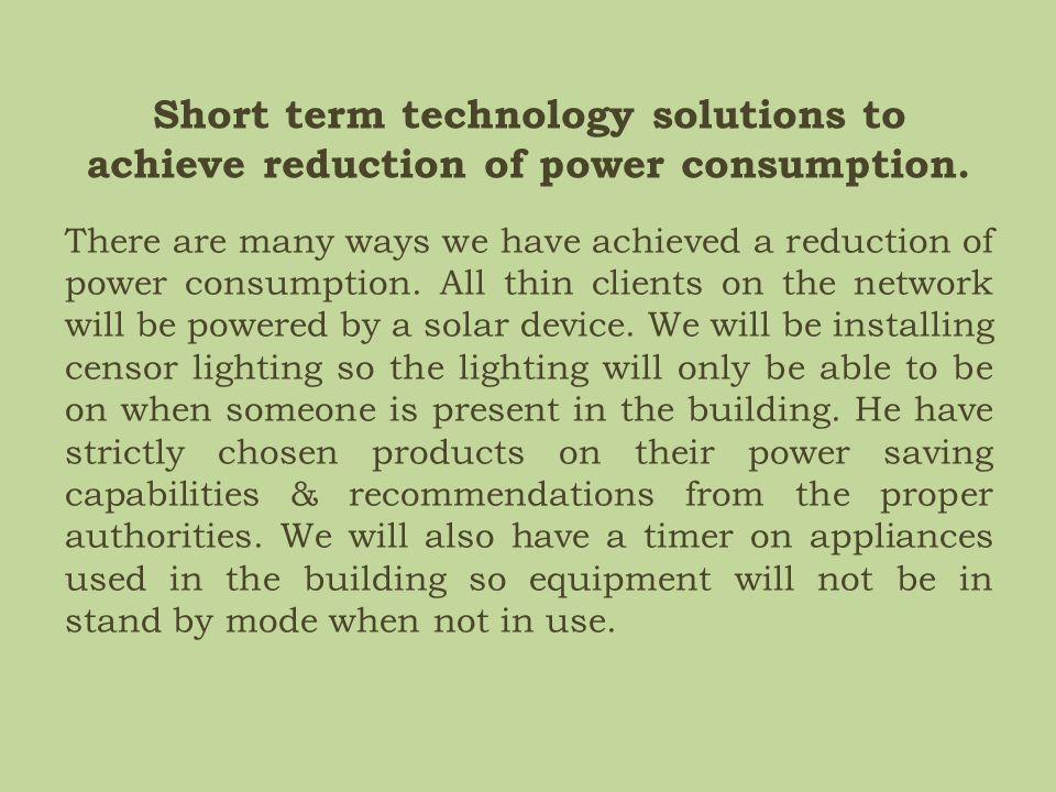 Energy usage within the ICT project.