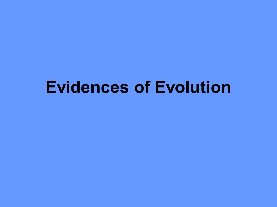 Evidences of Evolution