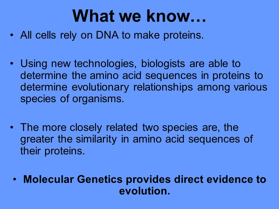 What we know… All cells rely on DNA to make proteins.