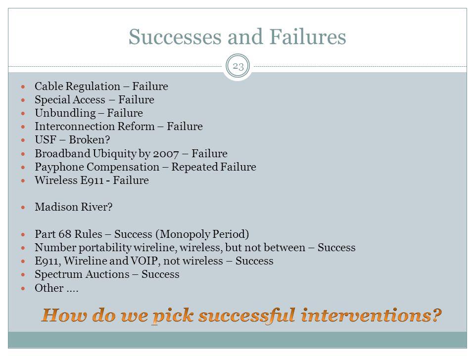 Successes and Failures 23 Cable Regulation – Failure Special Access – Failure Unbundling – Failure Interconnection Reform – Failure USF – Broken.